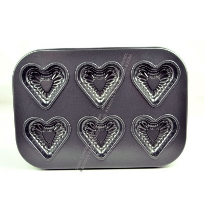 BAKING TRAY 6 CUP HEART DESIGN