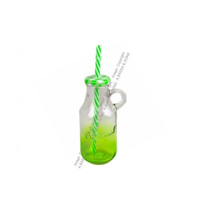 GLASS COLORED BOTTLE 200ML W/HANDLE AND STRAW