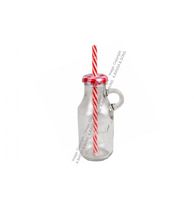 GLASS BOTTLE CLEAR 200ML WITH HANDLE AND STRAW