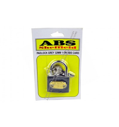 PADLOCK GREY 32MM 1 ON ABS CARD
