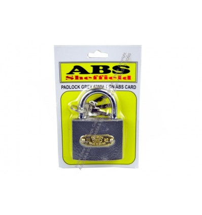 PADLOCK GREY 63MM 1 ON ABS CARD