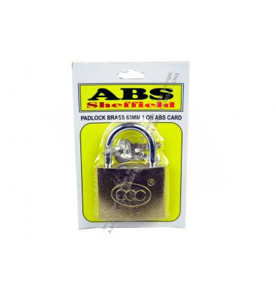 PADLOCK BRASS 63MM 1 ON ABS CARD